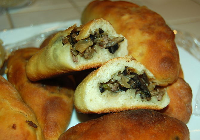 English: Piroshki (also known as Pierogi or Pi...
