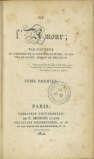 Stendhal: De l'Amour, Erstausgabe Paris: Mongi...