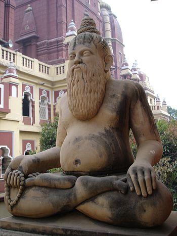 A sculpture of a Hindu yogi in the Birla Mandi...