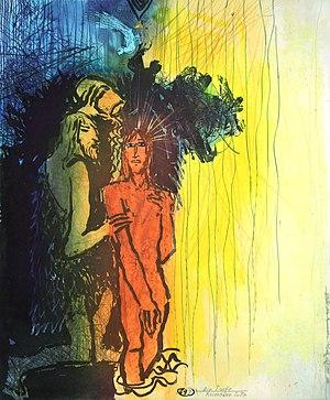 John the Baptist baptizes Jesus. The artist Ad...