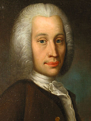 Part of an oil painting of Anders Celsius. Pai...