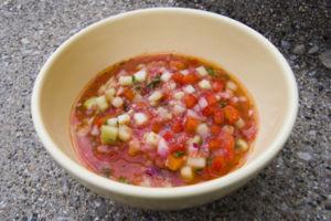 Gazpacho (Spanish liquid tomato salad).