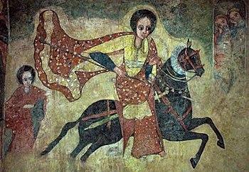 Queen of Sheba traveling to Solomon. A fresco ...