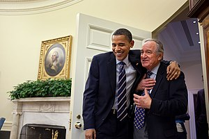 Obama greets Harkin the day after healthcare b...