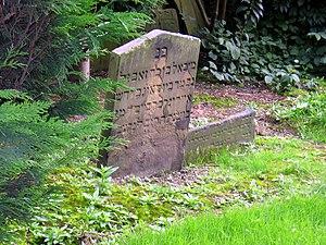English: Old Jewish Headstone, Hull, East Ridi...