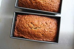 Banana bread loaves from above.