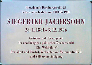 Deutsch: Gedenktafel, Siegfried Jacobsohn, Der...
