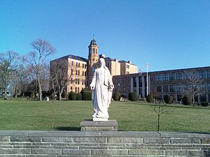 Jesus Statue in front of Central Catholic High...