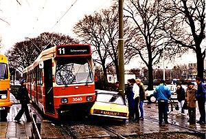 tram/car crash in Den Haag, the Netherlands