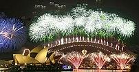 Sydney. Fireworks Newyear 2006. Opera House an...
