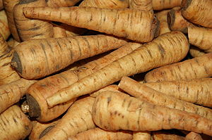 English: Parsnips offered for sale at a winter...