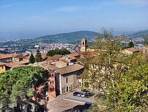 English: View on Perugia, Italy and the Church...