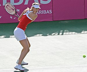 Maria Sharapova hitting backhand, Fed Cup matc...
