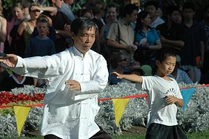 An elderly man and a child perform tai chi tog...