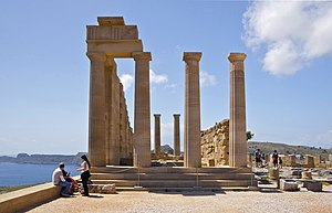 English: On the Acropolis of Lindos, Island of...