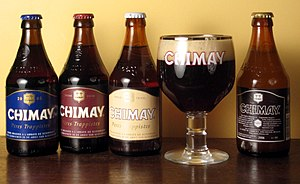 The four varieties of Chimay, with Chimay Bleu...