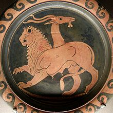 In Greek mythology a chimaera is a beast composed of the parts of a lion, a snake and a goat.