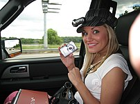 Justine Ezarik in a car with lifecasting e...