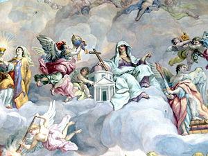 Karlskirche, Vienna. Fresco by Johann Michael ...