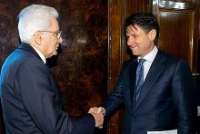 Giuseppe Conte with President Sergio Mattarella at the Quirinal Palace