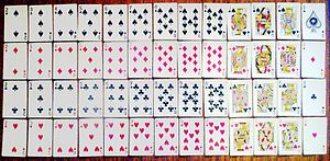 A set of 52 playing cards.
