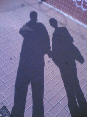 shadow on the street showing deformation along...