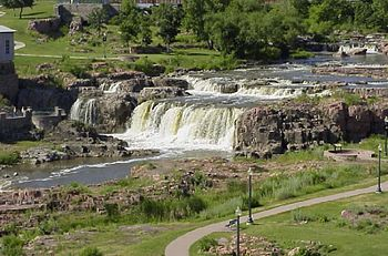 The falls of the Big Sioux River at Sioux Fall...