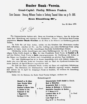 Prospectus for the creation of the Basler Bank...