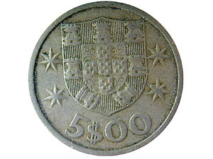 portuguese 5 escudos coin used before the euro...