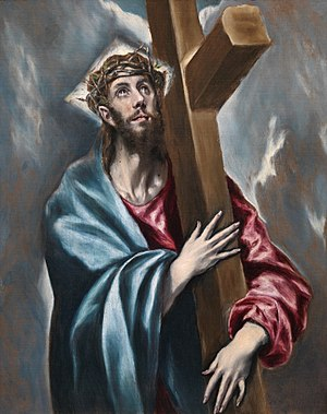 Cristo abrazado a la cruz. Óleo sobre lienzo, ...