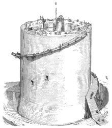 A half-finished circular tower with scaffolding near the top. There are holes in the tower and workers on top.
