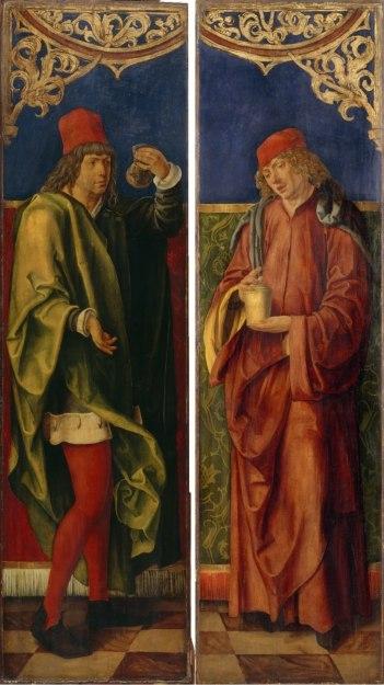 Les saints Côme et Damien avec les attributs de leur profession par Hans Süss. A gauche Côme flacon d'urine -Adroit r Damien flacon de médicaments