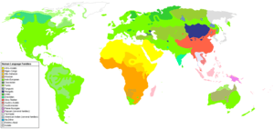 Map showing the distribution of language famil...