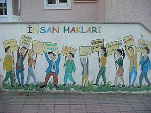 English: A mural describing human rights in Tu...