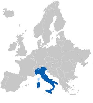 Extensión del idioma Italiano en Europa