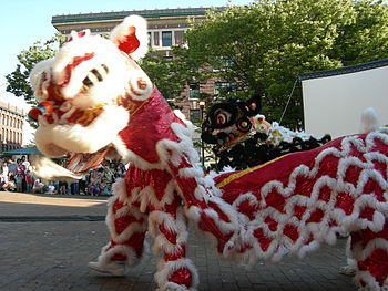 Lion dance at Seattle's Chinatown-Internationa...