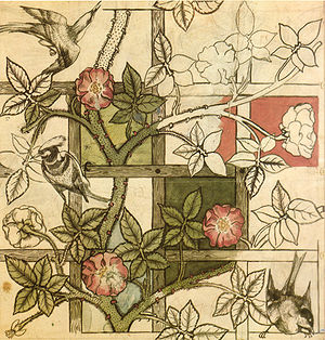 "William Morris design for ""Trellis"" wallpaper, 1862"