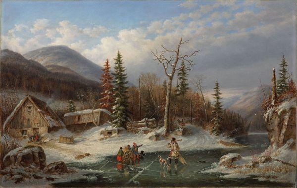 File 'winter Landscape Laval' Oil Canvas Painting Cornelius Krieghoff 1862 National