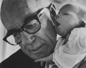 Benjamin Spock, American pediatrician (with hi...