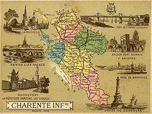 Français : Carte de la Charente-Inférieure réa...