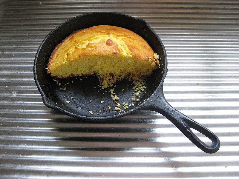 File:Cornbread in cast iron pan.jpg