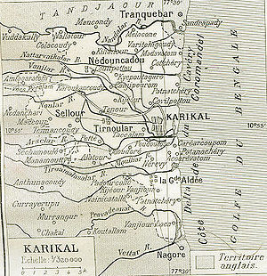 English: It is very old map of Karikal (Karaik...
