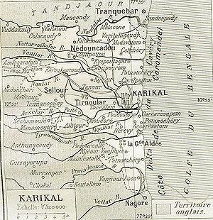English: It is very old map of Karikal (Karaik...