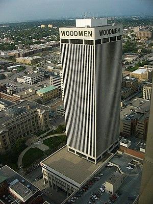 English: Woodmen Tower in Omaha, Nebraska, as ...