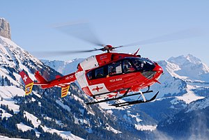 Swiss rescue helicopter in action. Model BK 11...