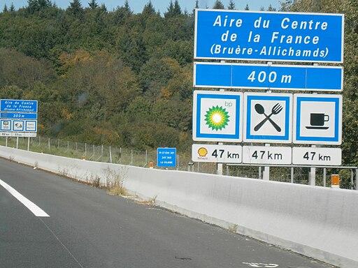 Autoroute française A71 - Aires du Centre de la France