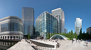 A 2 x 3 segment stitched image of Canary Wharf...