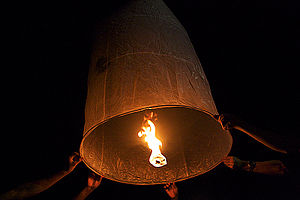 Release of giant sky lanterns during Loi Krato...