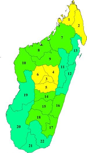 Map of the regions in Madagascar
