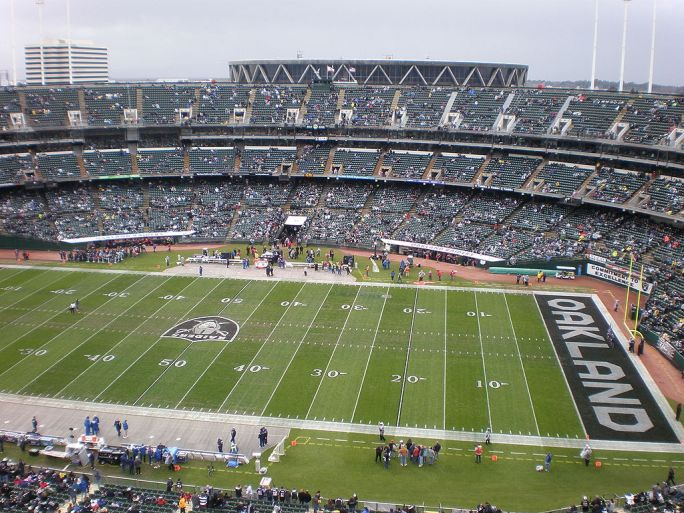 Oakland Coliseum field from Mt. Davis
